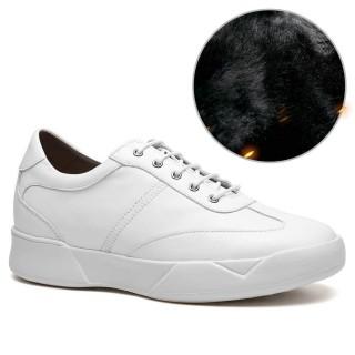 Chamaripa scarpe da uomo con tacco interno scarpe rialzate uomo scarpe rialzate all'interno bianco 7CM