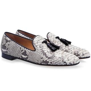Chamaripa scarpe con rialzo interno mocassini eleganti in pelle con motivo serpente grigi scarpe abbellite con nappe 6 CM