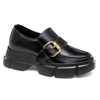 CHAMARIPA scarpe rialzate scarpe con tacco interno donna scarpe eleganti con tacco pelle nero 9CM