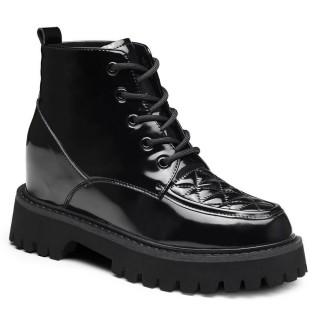 CHAMARIPA scarpe con rialzo donna stivali in vernice nera stivaletti con tacco interno 8CM