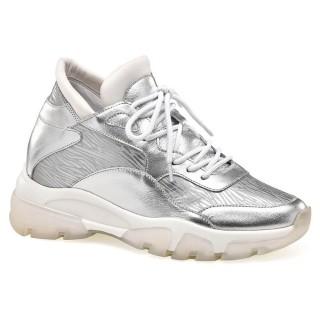 CHAMARIPA scarpe con rialzo donna scarpe da ginnastica con rialzo interno sneakers in pelle argento 8CM