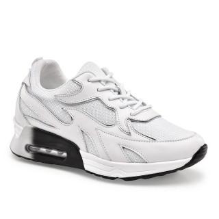 CHAMAIRIPA scarpe con rialzo donna sneakers rialzate da donna in pelle bianca 8CM