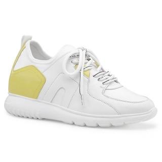 Chamaripa scarpe sportive con rialzo interno sneakers rialzate casual donna in pelle bianca 8CM