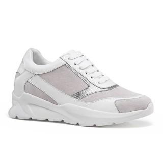 CHAMARIPA scarpe con zeppa alta scarpe con zeppa interna scarpe da ginnastica da donna bianche 7 CM più alti