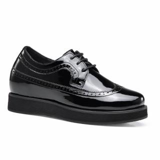CHAMARIPA scarpe con rialzo interno scarpe rialzate pelle verniciata nero Scarpe Oxford 7CM