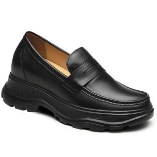 CHAMARIPA scarpe rialzate donna mocassini con rialzo interno donna nero 8CM