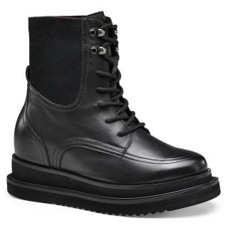 CHAMARIPA scarpe con rialzo interno donna stivali con tacco interno di pelle nero che ti fanno più alto 7 CM