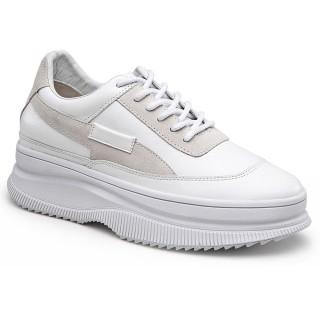 Chamaripa scarpe con zeppa interna donna - scarpe zeppa alta - scarpe ginnastica con zeppa bianca - 9 CM più alto
