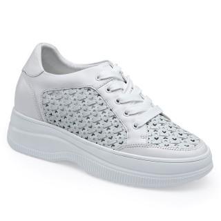 CHAMARIPA scarpe rialzate per donna- Scarpe estive con zeppa perforata- scarpe con zeppa alta in pelle bianca  8CM