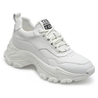 CHAMARIPA scarpe rialzanti donna-  scarpe ginnastica con zeppa - sneakers in pelle bianca 7 CM
