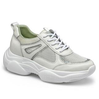 CHAMARIPA scarpe con rialzo donna -  scarpe ginnastica con zeppa donna -sneakers traspiranti in rete bianca 7 CM Più alto