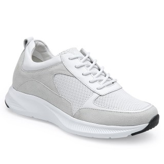 CHAMARIPA sneaker con zeppa donna - scarpe rialzate all'interno - scarpe da ginnastica in pelle bianca 7 CM