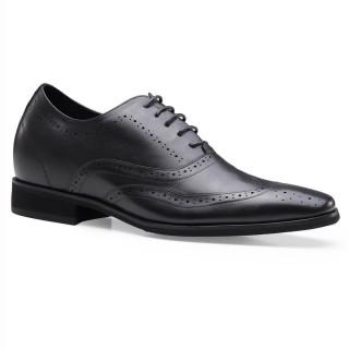 Chamaripa scarpe con rialzo interno scarpe per alzare statura scarpe rialzo uomo Oxford Brogue Nero 7 CM
