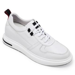 CHAMARIPA scarpe con rialzo sneakers con tacco interno sneakers con rialzo interno pelle bianca 7.5CM