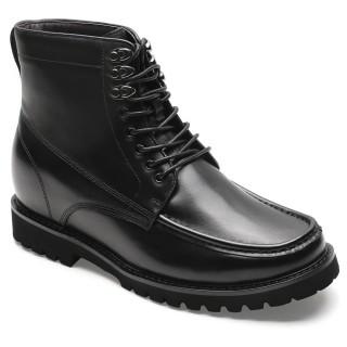 Chamaripa scarpe rialzate stivaletti con tacco interno nero scarpe con rialzo di pelle 9CM