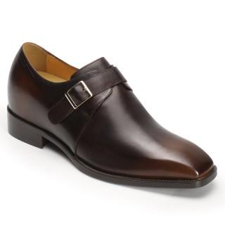 Chamaripa scarpe con rialzo mocassini con rialzo Scarpe monk con mascherina in pelle marrone 8CM