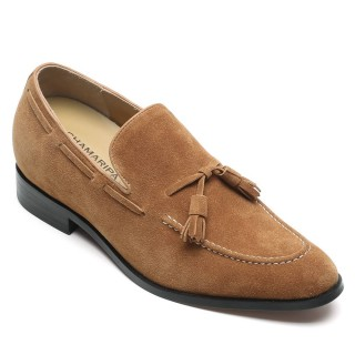 Chamaripa scarpe rialzo interno uomo mocassini con nappine in suede scarpa slip-on albicocca mocassini rialzanti 7CM