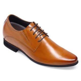 Chamaripa Prevendita scarpe con rialzo scarpe per sembrare più alti 8 CM scarpe stringate uomo marroni