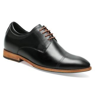 Chamaripa scarpe uomo con rialzo scarpe rialzanti uomo scarpe che aumentano l'altezza scarpe più alte in pelle nera 6 CM