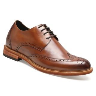 Chamaripa scarpe uomo con tacco per sembrare più alto 7 CM Marrone scarpe rialzate uomo