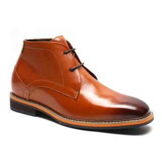Chamaripa scarpe con rialzo stivali con rialzo alta stivaletti con tacco interno marrone +7CM UP