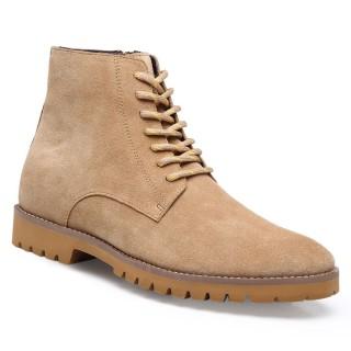 Chamaripa scarpe rialzate per uomo stivaletti con tacco interno pelle scamosciata scarpe per alzare statura 7 CM