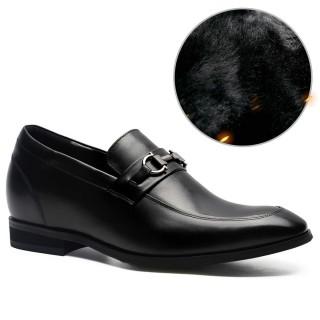 Chamaripa scarpe con rialzo mocassini rialzate scarpe con tacco interno mocassini uomo eleganti nero 7 CM