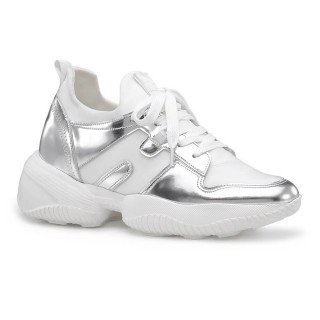Chamaripa scarpe con rialzo donna sneaker in pelle argento scarpe da ginnastica con tacco interno 9CM
