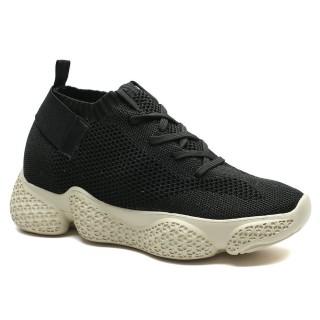Chamaripa Donna scarpe per sembrare più alto scarpe da tennis con tacco 7 CM scarpe ginniche con zeppa nero