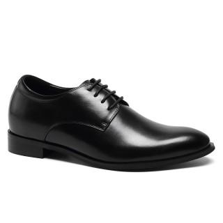 Cowhide Custom Made Derby Dress Black Height Increasing Elevator Shoes