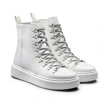 CHAMARIPA scarpe rialzate donna - scarpe da ginnastica con zeppa - sneakers alte in pelle bianca da donna 7CM più alto