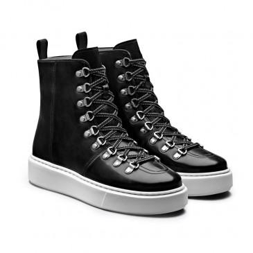 CHAMARIPA sneakers con zeppa in pelle nero - donna scarpe per alzare statura - stivali da ginnastica alti con rialzo interno 7CM