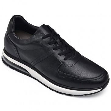 CHAMARIPA scarpe con rialzo interno - scarpe uomo tacco alto nero - scarpe casual in pelle nero 8 CM Più alto