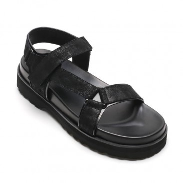 Chamaripa sandali rialzati in pelle nera moda casual sandali scarpe uomo tacco alto 6 CM