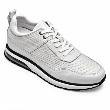 CHAMARIPA scarpe con rialzo interno - scarpe rialzate uomo - scarpe casual in pelle bianca 8CM Più Alto