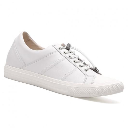 Chamaripa Branco Sapato Social Com Salto+ 6cm Mais Alto