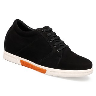 Chamaripa Preto Sapato Masculino Com Salto Interno 7cm + 7.5cm Mais Alto