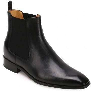 CHAMARIPA aumento de altura botas Chelsea de couro preto sapatos altos masculinos botas de salto alto para homens 7 cm