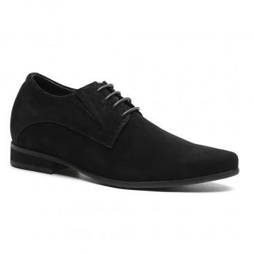 Chamaripa Altura Aumento Sapatos De Camurça Preto Oculto Salto Alto Homens Sapatos De Vestido 8 CM / 3.15 Centímetros
