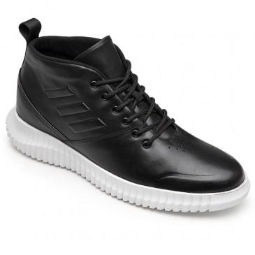 CHAMARIPA tênis de salto oculto masculino sapatos de salto alto de cano alto sapatos masculinos de couro preto 7CM