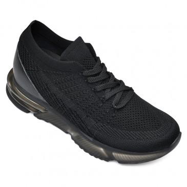 CHAMARIPA sapatos de aumento de altura para homens tênis de salto oculto sapatos esportivos pretos 7 CM