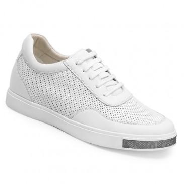 Chamaripa Branco Sapato Masculino Salto Alto + 6cm Mais Alto