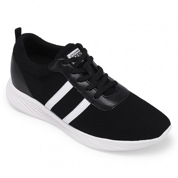Chamaripa Elevador Sneakers sapatos pretos sapato masculino com salto interno 6 CM / 2.36 Inches