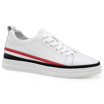 Chamaripa Branco Sapato Masculino Com Salto Alto Embutido + 5.5 CM Mais Alto