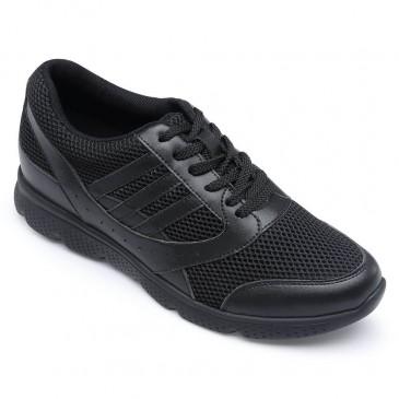Chamaripa Preto Sapatos Masculinos Com Salto + 7cm Mais Alto
