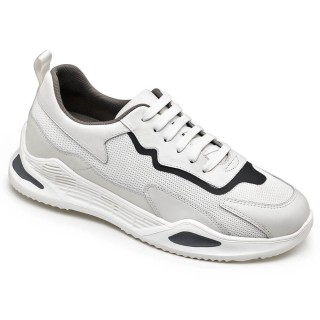Hidden Heel Trainers For Men Breathable White Mesh Elevator Sneakers