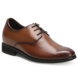 CHAMARIPA Brown Leather Height Increasing Shoes