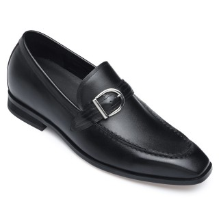 Black Leather Elevator Shoes Height Increasing Loafer Shoes For Men