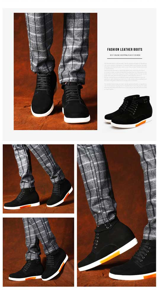 Black mens shoes for height 7.5cm Boot Suede Leather men tall shoes