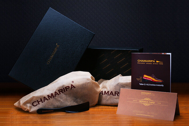 chamaripa shoes are packed in a black box